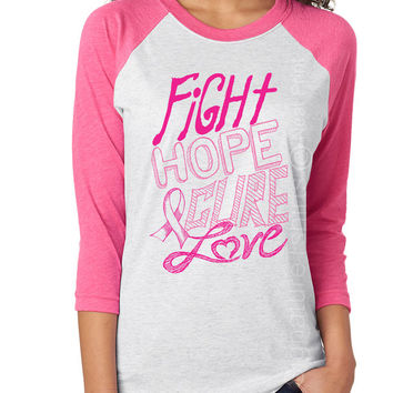 Breast Cancer Awareness Shirt, October Pink Ribbon Shirt, Support Breast Cancer Survivor, Fight Hope Cure Love Shirt, Breast Cancer Walk
