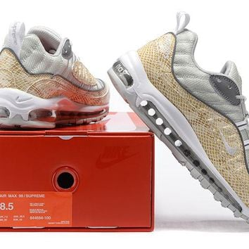 """""""Nike Air Max 98 Supreme"""" Men Sport Casual Fashion Multicolor Stitching Snake Pattern Air Cushion Running Shoes Sneakers"""