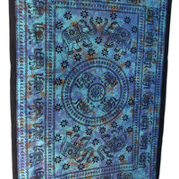 Blue Small Elephants Cotton Tapestry Wall Hanging Indian Bedspread Hippie Bohemian Throw Home Decor