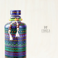 Hand painted ceramic bottle with african pattern. For home and kitchen decor, gift for men or gift for women.