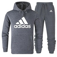 ADIDAS 2019 new solid color men's sports suit two-piece Grey