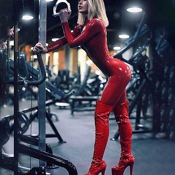 Faux Leather Skinny Jumpsuit Zipper Up Fitness Bodysuit Women Long Sleeve High Street Solid Sexy Club Playsuit