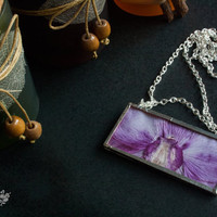 Purple orchid jewelry. Pressed flower necklace. Soldered glass pendant.