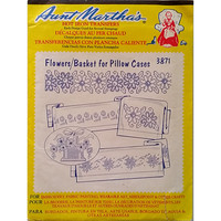 Flowers Basket for Pillow Cases Aunt Marthas 3871 Vintage Hot Iron Transfer am33