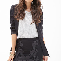 FOREVER 21 Faux Leather Baroque Skirt Black/Black