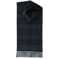 Johnstons of Elgin Black Witch Lambswool Tartan Scarf - Black/Green | Johnstons of Elgin Scarf | KJ Beckett