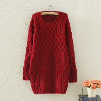 Vintage Winter Warm Womens Red Cable Knit Sweater