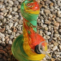 Glass Water Pipe Bong Smoking Jamaician Reggae Green Yellow Red Orange Swirl Design 6 inch Fancy Hippie Art Made in the USA Tobacco Use Only
