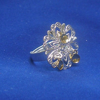 Birna - Lovely Traditional Norwegian Solje Style Silver Plated Snowflake Filigree Ring with Gold Drops