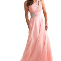 Dlass New Products One Shoulder Chiffon Prom Dresses Wedding Party Gown