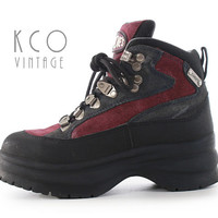 Candies Platform Boots 6 Chunky Lace Up Hiking Shoes 90's Vintage / Red Navy Suede Leather Black Rubber Sole Club Rave Festival Women's UK 4