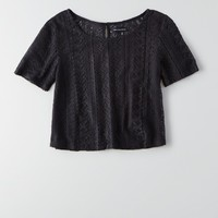 AEO BUTTON BACK LACE T-SHIRT