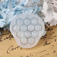 "Silicone Resin Mold For Jewelry Making Honeycomb White 55mm(2 1/8"") x 53mm(2 1/8""), 3 PCs"
