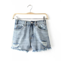 Embroidery Rinsed Denim Ripped Holes Denim Pants Women's Fashion Summer Shorts [6034260289]