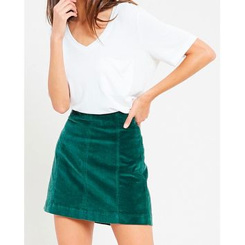 Final Sale - Corduroy Mini Skirt in Green