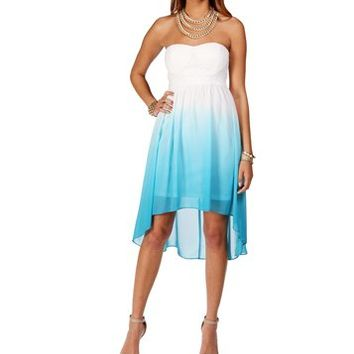 White/Turquoise Ombre Dress