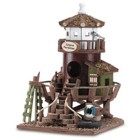 Beach Island Paradise Lifeguard Watch Station Collectors Village Bamboo Wood Birdhouse