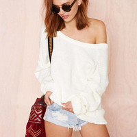 'The Sommer' White Off Shoulder Knitted Sweater