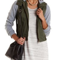 Olive Combo Hooded & Layered Bomber Jacket by Charlotte Russe