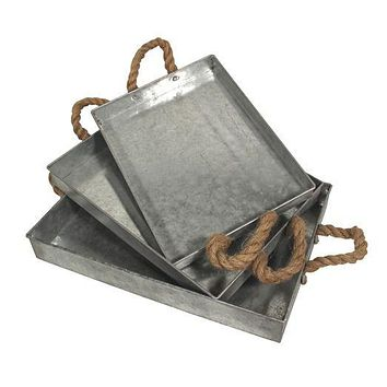 Galvanized Metal Trays with Wide Jute Rope Handle - Set of 3