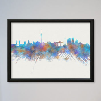 Skyline Berlin Germany Watercolor Poster Wall Art Decor Fine Art Giclee Print Gift Home Decor Wall Hanging