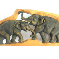 """Hand Carved Elephant Wood Carving Elephant Natural Teak Wood  Elephant Handmade Wooden Elephant Art Home Decor / Gift 23""""x8.25""""x0.75"""""""