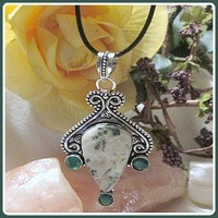 """""""In Abundance"""" Moss Agate  & Green Chalcedony Necklace"""
