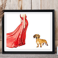 Lady in red dress Dog print Dachshund dog breed Woman with dog Romantic wall decor Dog lovers gift Dog poster print For her Print it out