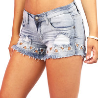 Tri Tear Cutoff Shorts | Denim Shorts at Pinkice.com