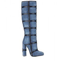 Patchwork denim and leather knee boots