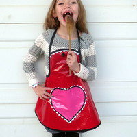 Kids Valentine Apron Little Girls Craft Apron Art Smock Laminated Cotton Wipe Clean