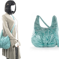 Vintage Turquoise Bag Butter Soft Leather 80s Hobo Slouch Embossed Purse Carryall Tote