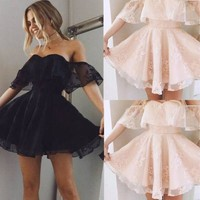 New Women Formal Lace Dress Prom Evening Party Cocktail Bridesmaid Wedding Gown