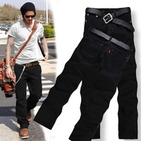 Men's Fashion Pant Brand Black Jeans Pocket Male Casual Straight Denim Jeans New Arrival Slim Soft Denim Men's Brand Biker Jeans
