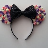 Pink, Purple, White Floral Rose Minnie Mouse Ears Headband with Black Sequins Bow