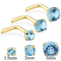 14K Real Gold (Nickel free) L-shaped nose pin with Round Aquamarine