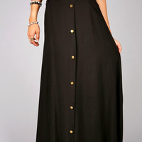 Track Button Maxi Skirt   Maxi Skirts at Pink Ice