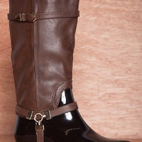 Forever Harness The Power Faux Leather Riding Rain Boots Clara-25 - Dark Brown