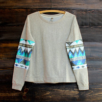 chevron sequin aztec sleeves top , oatmeal