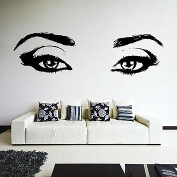 Vinyl Wall Decal Realistic Womens Eyes Silhouette / Sexy Teens Face Art Decor Removable Home Sticker / DIY Mural + Free Random Decal Gift!