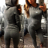 (2 Pcs) 2016 Trending Fashion  Women Casual Sweatshirt Shirt Top Blouse T-Shirt and Twisted Knit Grey Hoodie Sports Sweatpants Set _ 1869