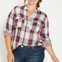 plus size plaid button down shirt with tiny plaid interior