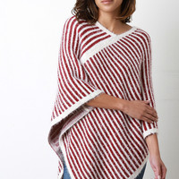 Brushed Loose Knit Striped Poncho