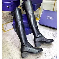 STUART WEITZMAN Fashion New Leather Long Shoes Boots Black
