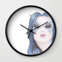 Blue Butterfly Girl Wall Clock by drawingsbylam