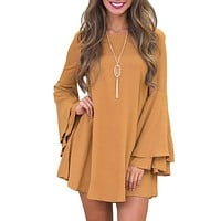 Winter Mini Dress Women Long Flare Sleeve Dresses Brief Loose Casual A line Dress 2018 Women Loose Solid Dress Robe Backless