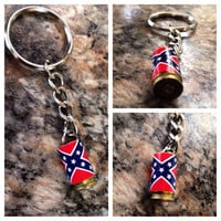 9mm rebel flag keychain