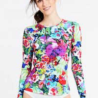 Women's Hyper Floral Swim Tee Rash Guard from Lands' End