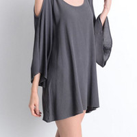 Charcoal Cold Shoulder Tunic