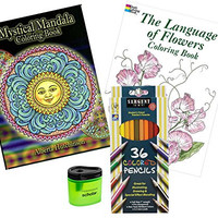 Adult Coloring Book and Pencils Set: Sargent Art Colored Pencils (36), Prismacolor Pencil Sharpener and 2 Adult Coloring Books (Mystical Mandalas and The Language of Flowers)